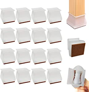 16 PCS Square Chair Leg Caps, Large Size Fit Side Length 1 3/16 to 1 5/8 Inch, Silicone Chair Leg Floor Protectors with Felt Pads, Soft Elastic Furniture Table Feet Cover