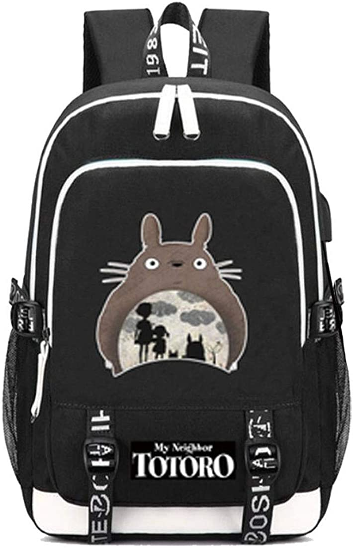 Gumstyle My Neighbor Totoro No Face Man Anime Schoolbag Travel Bag Laptop Backpack with USB Charging Port Headphone Jack
