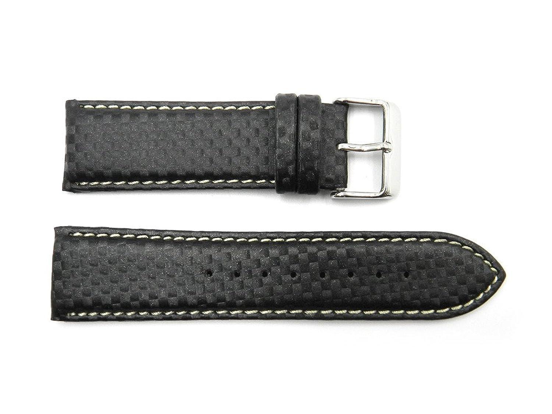 24 mm CheckeredブラックGenuine Italianレザーホワイトステッチ時計ストラップ  B072211XLK