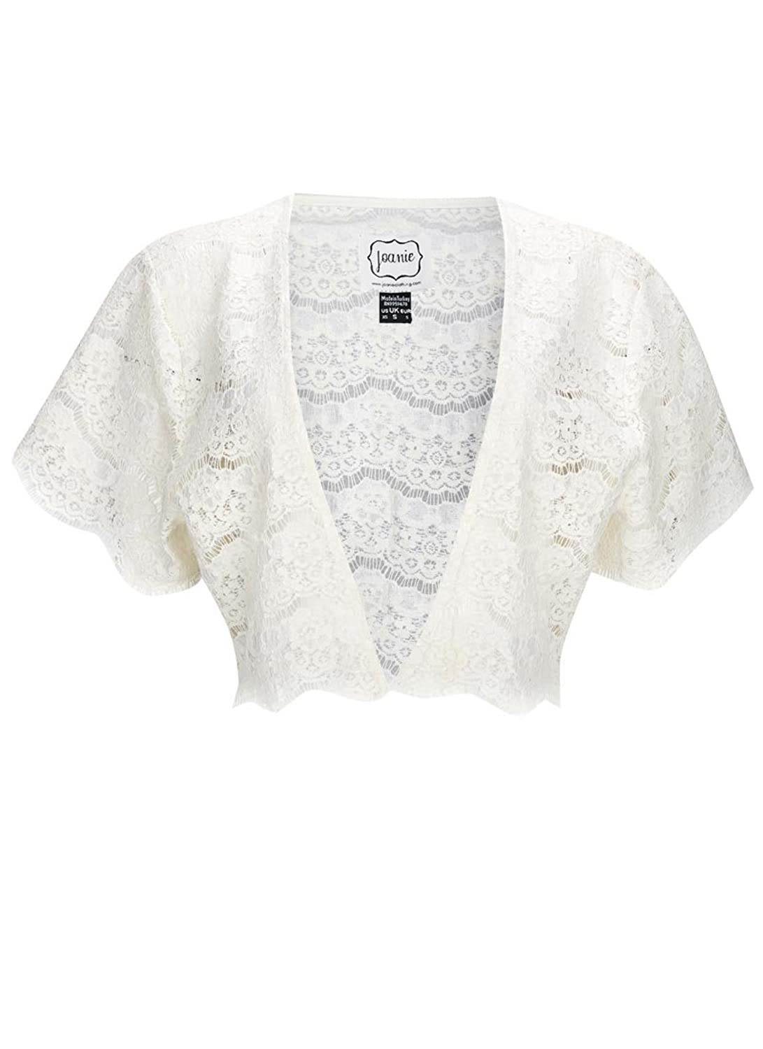 Joanie Clothing 'Elodie' Lace Shrug in Black and White