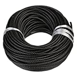 Linsoir Beads Black Round Genuine Braided Leather Cord Bolo Tie Cording Dia 5mm 2 Meter Roll
