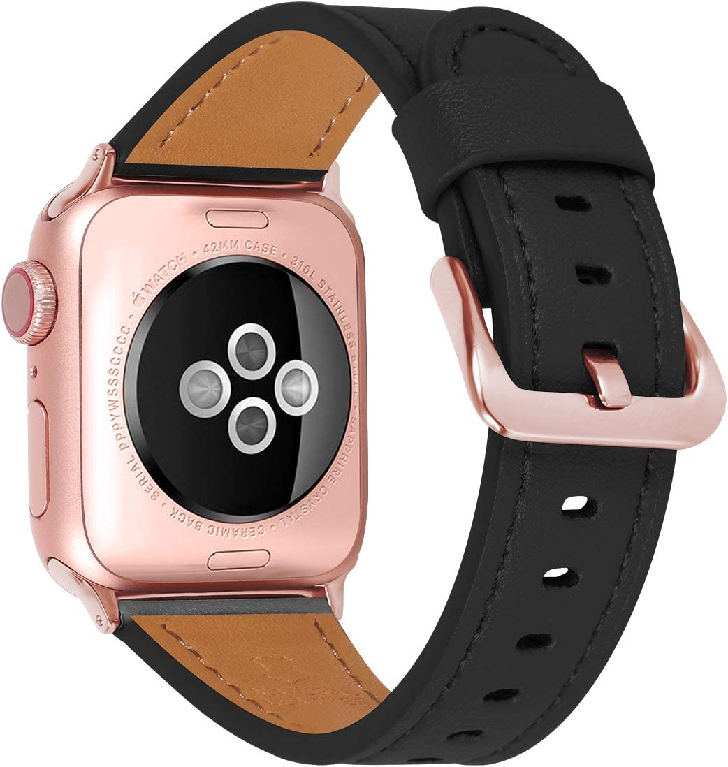 JIKE Compatible with Apple Watch Band 38mm 40mm, 42mm44mm Genuine Leather Watch Strap Compatible with Apple Watch Series 6/5/ 4/ 3 /2/ 1,SE Sport and Edition (black/Rose Gold , 38mm40mm)