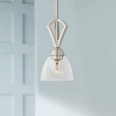 Milbury 6 Wide Brushed Nickel and Clear Glass Mini-Pendant – Possini Euro Design
