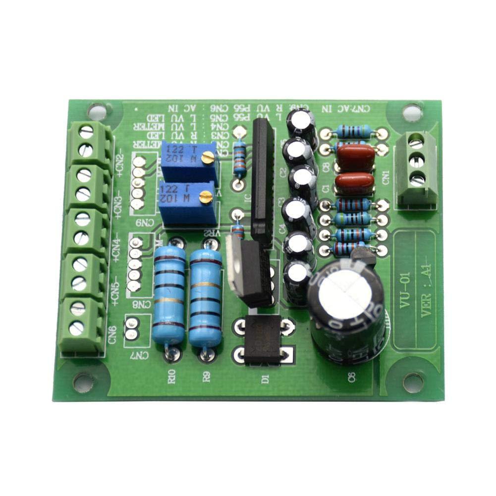 Roful VU Medidor Driver Board Amplificador, DB Nivel Audio Entrada De Retroiluminación AC 12V EstéreoVU Medidor Controlador De Tablero Amplificador: ...