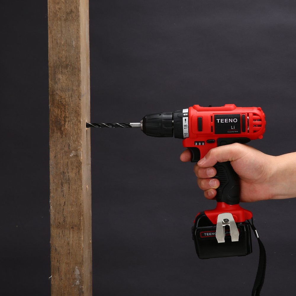 TEENO 21V MAX Impact 3/8'' Cordless Drill Driver set with 2 Lithium Ion Batteries 1500mAh, 1Hr Fast Charger, 25pcs Accessories Included, Impact Fanction by TEENO (Image #5)