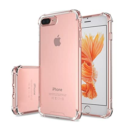 online retailer 72056 b4955 Valenth iPhone 7 Plus Case Soft TPU Four Corners Protection Crystal Slim  Case Shell Skin Cover for iPhone 7 Plus with Soft HD Screen Protector  Crystal ...