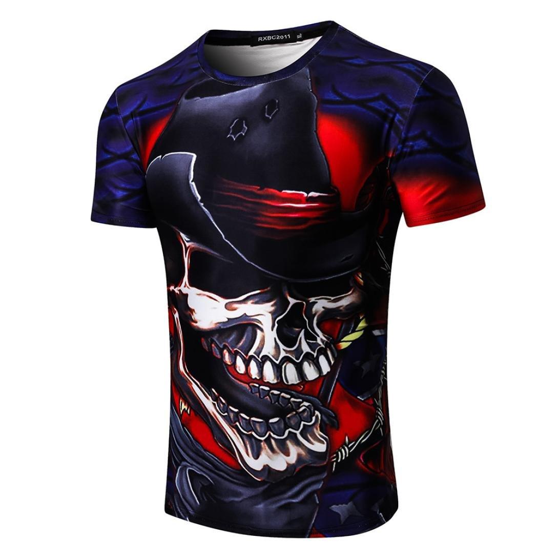 Longra T-Shirt Damen Herren Shirt Feuer Schauml;del Print-Shirts 3D Druck Tees Shirt Kurzarm T-Shirt Bluse Tops Unisex Rundhals Coole T Shirts Mode Hip Hop Bluse Hemd Streetwear  XXL|Multicolor 03