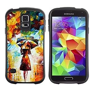 LASTONE PHONE CASE / Suave Silicona Caso Carcasa de Caucho Funda para Samsung Galaxy S5 SM-G900 / Painting Colorful Girl Woman Umbrella Art