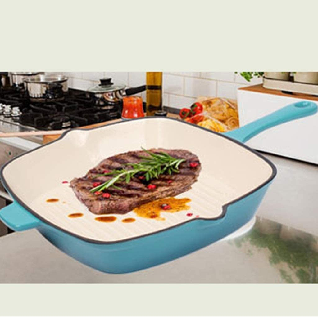 Cuisinière À Induction Cuisson Pan Émail, Carré Poêlée Plate Steak, Fonte De Cuisson Pan Cuisinière À Induction Universelle Des Gaz (Color : Blue) Orange