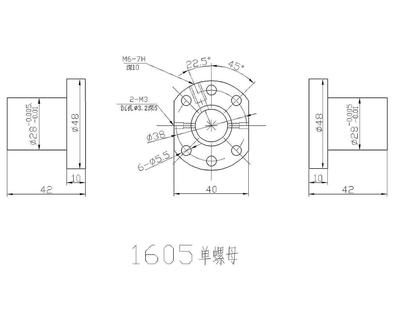 16mm ballscrew RM1605-600mm+BK//BF12 end bearing+20mm Linear Guideway 2 Rail CNC