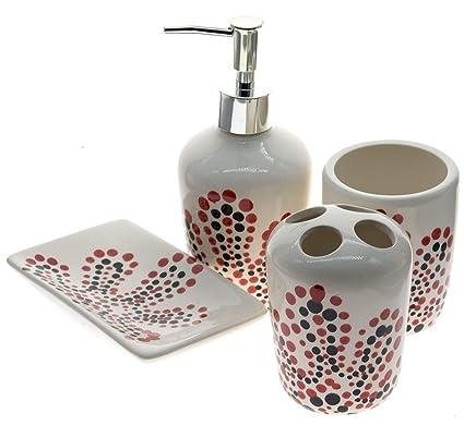 Juego de accesorios para baño (cerámica, 4 piezas compuesto de dispensador jabón líquido,