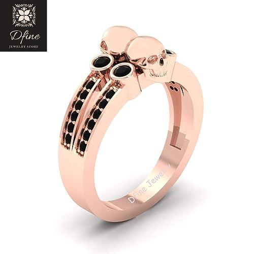 skull ring wedding diamond Black