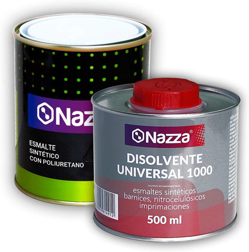 Pack AHORRO Esmalte Poliuretano Sintético + Disolvente | Color Negro | 750 ml | Acabado Satinado