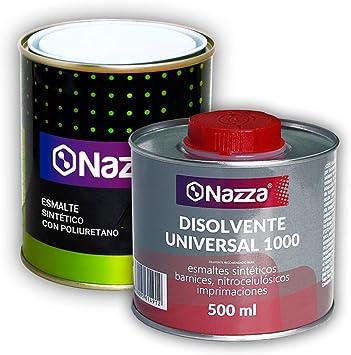 Pack AHORRO Esmalte Poliuretano Sintético + Disolvente | Color Blanco | 750 ml | Acabado Mate: Amazon.es: Bricolaje y herramientas
