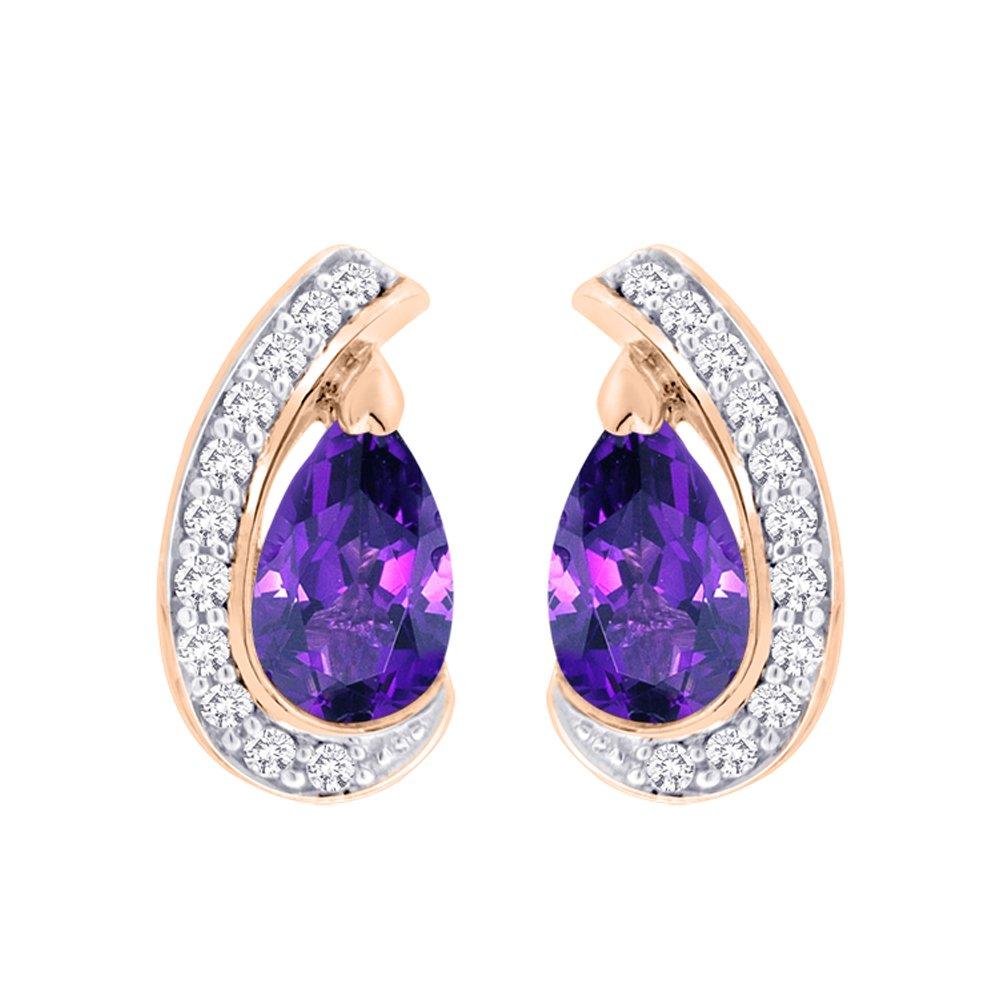 ダイヤモンドと梨カットアメジストファッションイヤリングゴールドまたはシルバー( 2 1 / 5 cttw ) ( gh-color、i2 / i3-clarity ) B074XDTCHP 925-Sterling