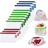 Bolsas reutilizables de malla,Bolsas Compra Reutilizables Ecológicas Bolsas lavables para Almacenamiento frutas, vegetales y