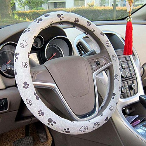 (Raysell Soft Comfy Cute Paw Printed Automotive Car Steering Wheel Cover (Grey))