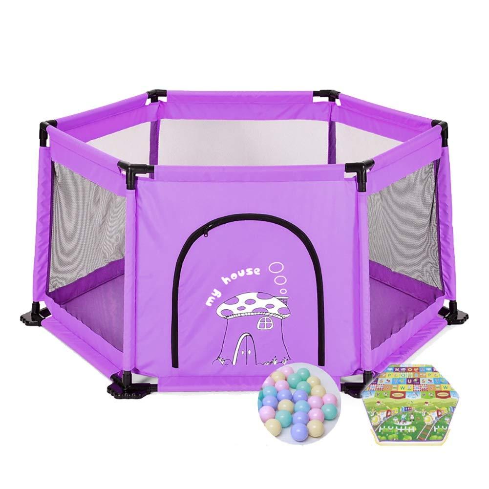 家庭用ベビーゲームベビーサークル、幼児幼児落下防止フェンス、子供用安全柵おもちゃの家200ボールとクロールマット (色 : 紫の)  紫の B07Q7V8RT8