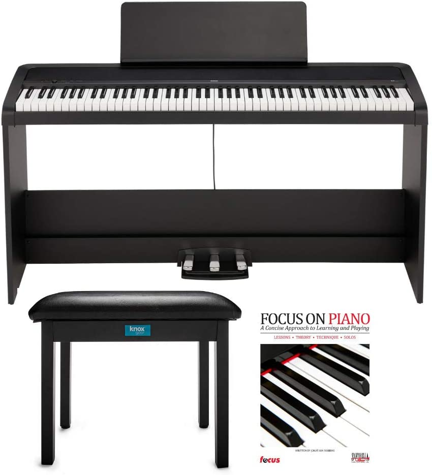 KORG B2SP 88-Key Digital Piano with Stand, Three-Pedal Unit, Knox Gear Piano Bench and Piano Boo