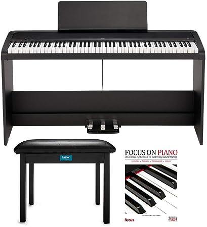 KORG B2SP Piano digital de 88 teclas con soporte, unidad de tres pedales, banco de piano Knox Gear y libro de piano (3 artículos)