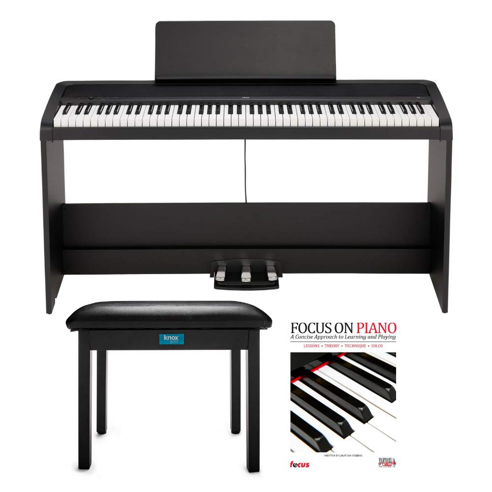 KORG B2SP 88-Key Digital Piano with Stand, Three-Pedal Unit, Knox Gear Piano Bench and Piano Book (3 Items) by Korg