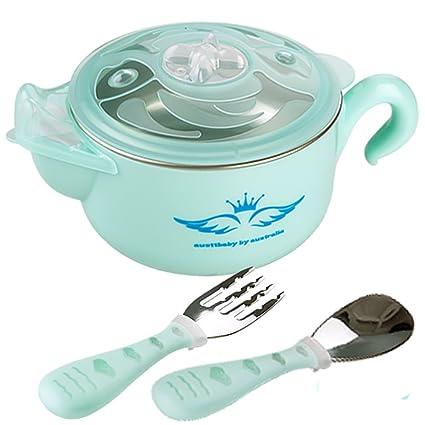TAMUME 400ML Azul Bebé Tazón de Fuente, Envase de Comida Aislado con Cubiertos para Bebés