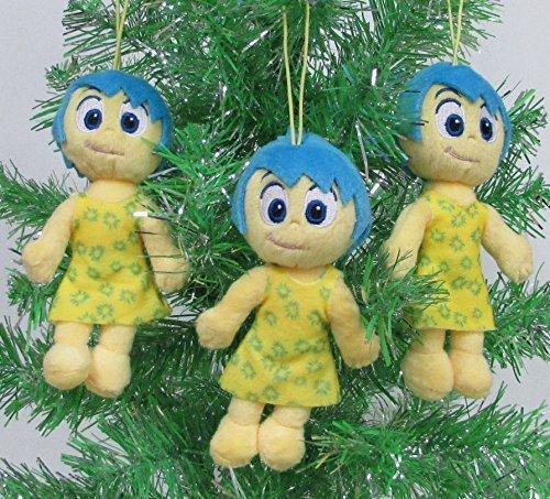 DISNEY INSIDE OUT 3 Piece Christmas Tree Ornament Set Featuring 3 Plush Joy Figures
