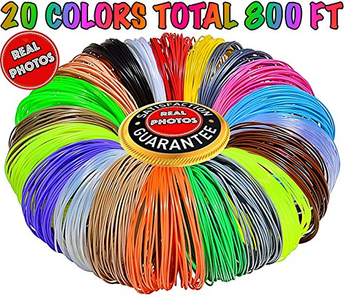 3D Pen Filament Refills 1.75mm ABS 20 Colors Total 800 Feet, 40 Feet Each - Mega Kit/Set with Individual Packs for 3D Drawing/Printing Pens and Printers - Gift for Kids Girls Boys Teens Adults