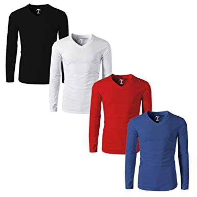 cccabdfc1 Tripr Men s V-Neck Full Sleeves Tshirt Combo Black Red White Royalblue   Amazon.in  Clothing   Accessories