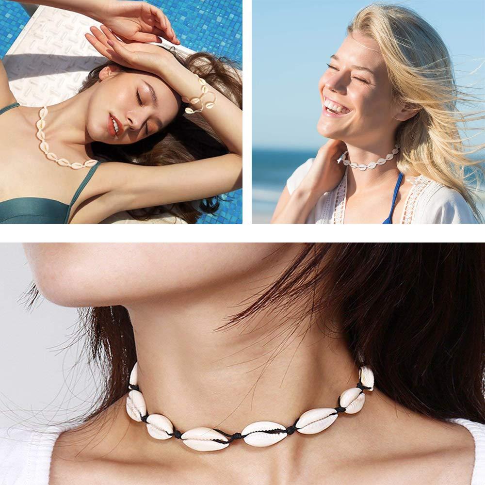 5 pezzi Bracciale in Conchiglia Naturale Regolabile Collana Girocollo in Conchiglia Cavigliera Spiaggia,per Donna e Ragazza