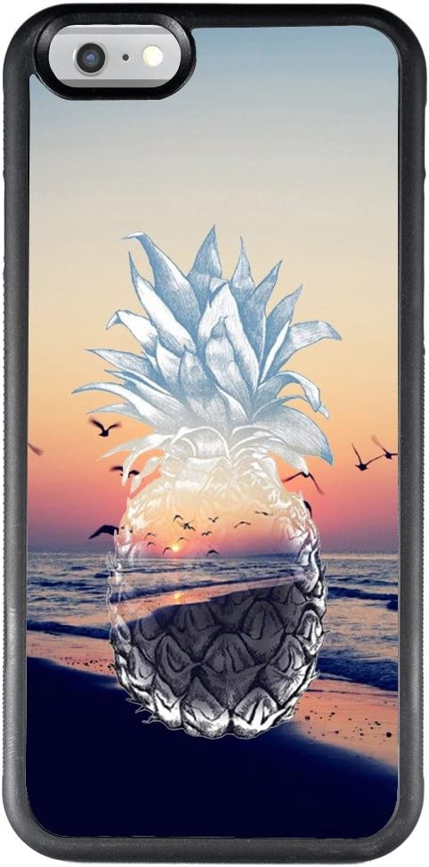 ChyFS Case for iPhone 6s 6 Sunset Pineapple Phone Case,TPU Protective Black Case