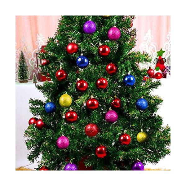 Yisscen Palle di Natale Decorazioni per Alberi, Palle per Alberi di Natale, Palle Decorative Natalizie, Palline Decorative Luccicanti opache e Lucide, per Decorazioni Feste, 24 Pezzi (Rosa Rossa) 2 spesavip