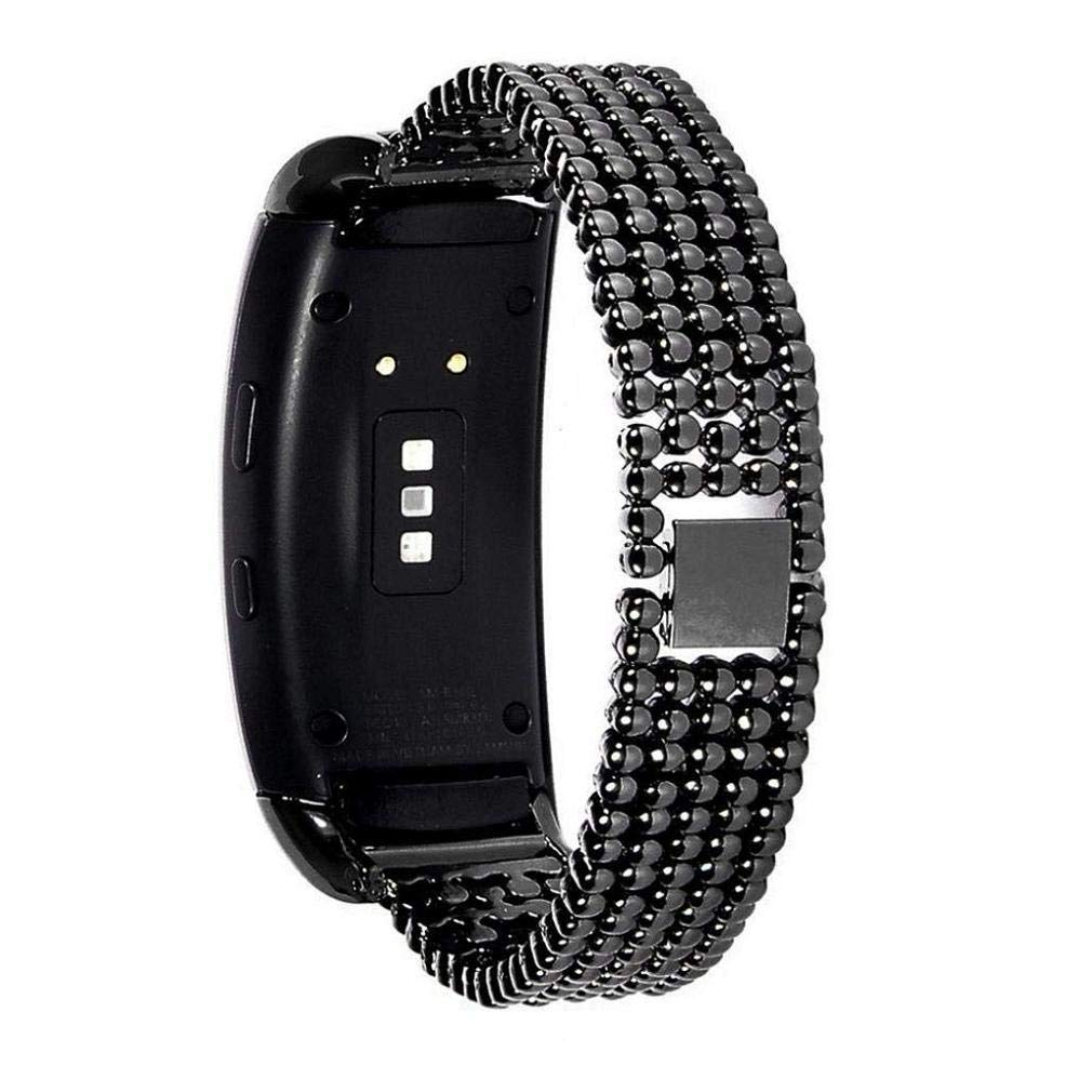 Fashion Clearance! Noopvan Stainless Steel Metal Strap Replacement Band for Samsung Gear Fit2 SM-R360 (Black)