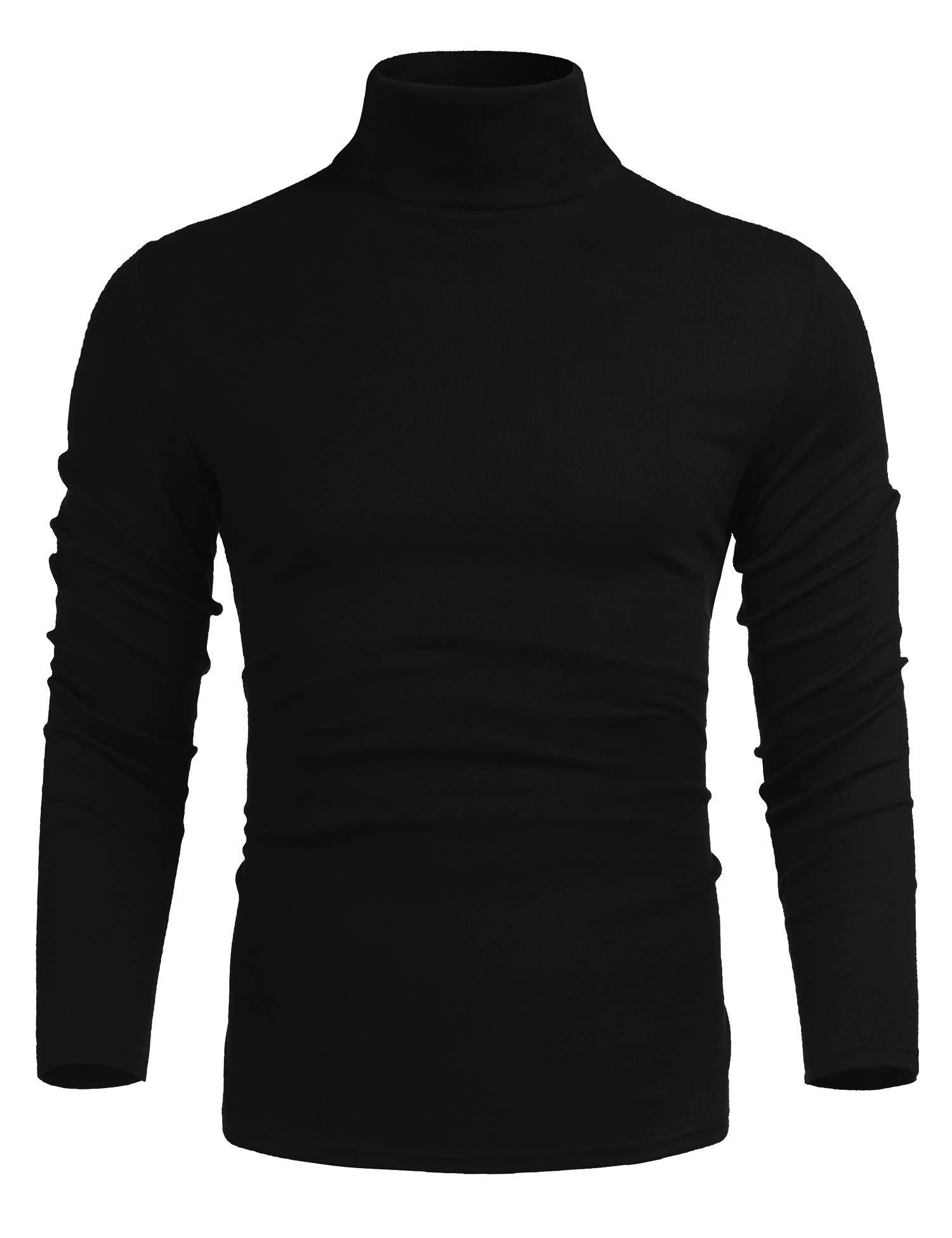 poriff Men's Basic Turtleneck Pullover Melange Colored Slim Fit Long Sleeve Sweater Black M