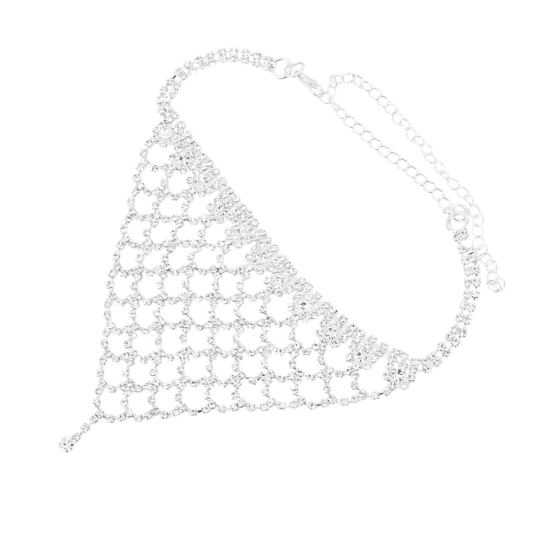 Naimo Womens Sparkly Tassel Rhinestone Crystal Choker Necklace Sexy Chain Choker Necklace (Silver) by Naimo (Image #2)