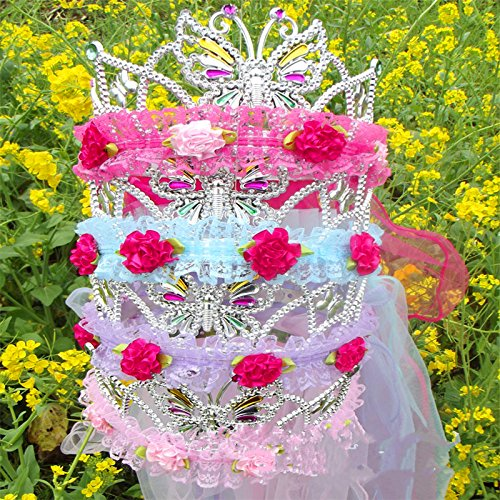 Quantity 1x new_deal_ children _Abakh_Hoja_cap_ Crown Tiara Party Wedding Headband Women Bridal Princess Birthday Girl Gift head _gauze_ Headdress _tourist_square_garlands_ queen _sleeper_ earrings _F ()