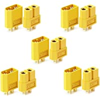10 pcs XT60 Battery Connectors for RC Battery Toy Vehicle 5pcs Male connectors and 5pcs Female connectors (5 pairs)