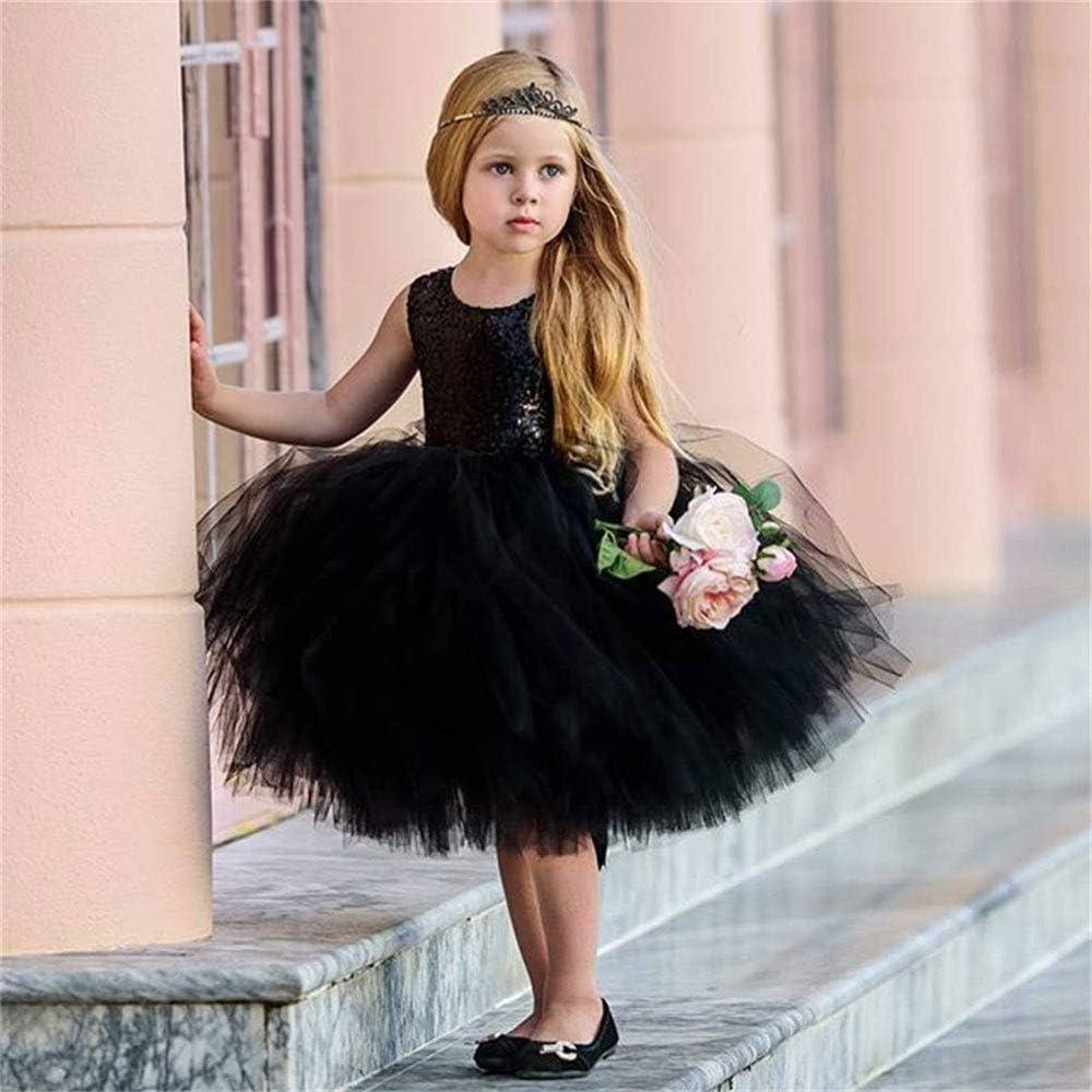 ZOELNIC Baby Girl Lace Dress Toddler Kids Sleeveless Sequin Party Wedding Tutu Princess Dress