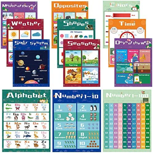 Educational Preschool Learning Posters for Toddlers, Kids Posters for Nursery Homeschool Kindergarten, Numbers Alphabet Colors Poster, Teaching Supplies for Pre-K Classroom Wall [12 Pack, 11×14 Inch]