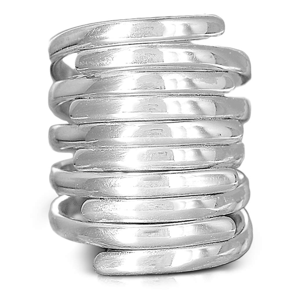 Boho-Magic 925 Sterling Silver Band Rings for Women   Wide Band Simple Wrap Ring   Big Statement Fashion Jewelry   Women's Size 5-10 (9)
