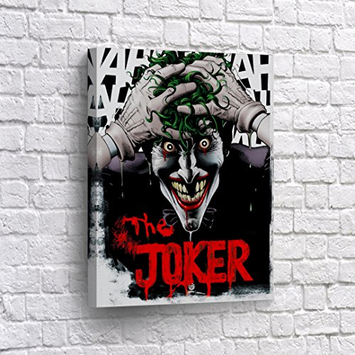 Buy4Wall The Joker DC CANVAS PRINT 'A Visual History of the Clown Prince of Crime' Book Cover Comics Old School Wall Art Home Decor Poster Artwork -%100 Handmade in the USA - 40x30