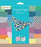 Avenue Mandarine Origami Paper, 20 x 20 cm, 70 g, 60 Sheets, Double Sided, Geometric