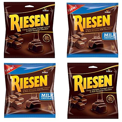 Chewy Chocolate Caramel - Riesen Chewy Chocolate Caramel Cacao (2 Pack) and Milk Chocolate (2 Pack) - 2.65oz