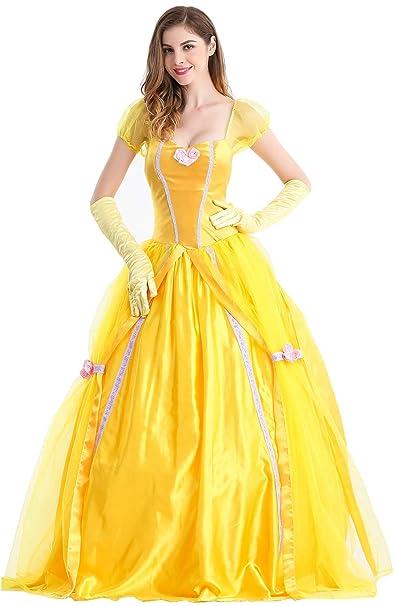 390fc2229fc3 Feicuan Mujer Disfraz de Princesa Fancy Vestido Halloween Party Carnaval  Amarillo: Amazon.es: Ropa y accesorios