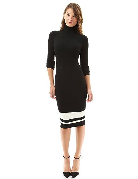 db8475e546b PattyBoutik Women s Turtleneck Ribbed Sweater Dress (Black and Ivory Small)