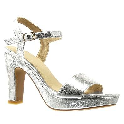 Zapatos plateado Angkorly para mujer aT5qUiX