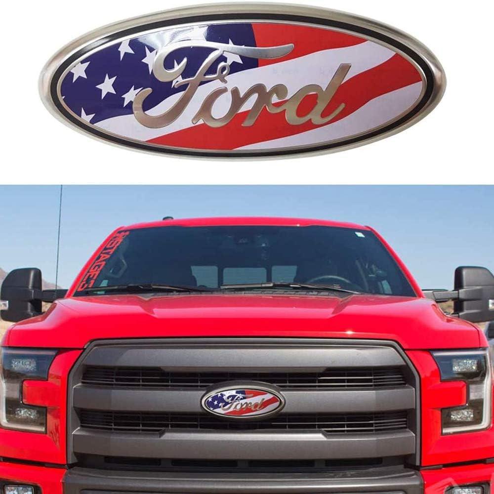 Oval 9x3.5 Black American Flag Decal Badge Nameplate Emblem Fit for Ford 2004-2014 F150 Black American Flag 9inch F150 Front Grille Tailgate Emblem