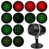 Soucolor Dynamic Lighting Projector Light, Rotating Landscape Projector Light, IP65 Waterproof Red & Green Star Projector Show for Christmas, Holiday, Party, Home, Garden Decoration (Star)