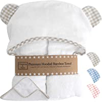 Premium Hooded Baby Towel and Washcloth Set - Choose Beige Blue Or Pink with White | Organic Bamboo Baby Towels with…