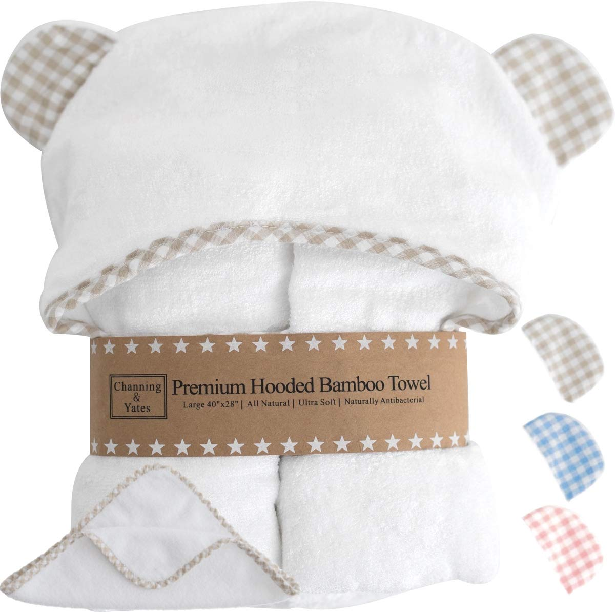 Premium Organic Baby Towel with Hood and Washcloth Gift Set - Boutique Baby Towels and Washcloths - Bamboo Hooded Towels for Baby - Hypoallergenic Large Toddler Towels for Boys or Girls (Beige/White)